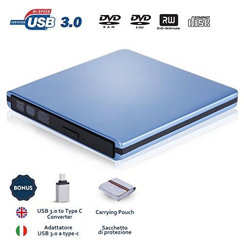 Externes DVD Laufwerk, Slopehill USB 3.0 DVD/CD Tragbares Slim Externer Brenner | 100% Neu Chip | Unterstützt für Windows 10 und Mac OS | Superdrive für alle Laptops/PCs Apple Macbook, Lenovo, Thinkpad, LG, Samsung, Sony, ASUS etc. | USB 3.0 auf USB C Adapter & Tragetasche Inbegriffen | Blau (Brennen Sie Es Tun)