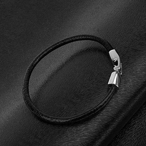 Phenovo Men's Black PU Leather Magnetic Clasp Wrap Bangle Bracelet Wristband  available at amazon for Rs.295