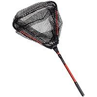 Lixada Fly Fishing Triangle Brail Landing Net Portable Foldable Lightweight Net Nylon Fishing Net Aluminum Alloy Frame