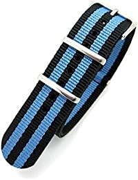 Black & Blue Striped Infantry Military MoD NATO Nylon Fabric GENERIC G10 4 Rings Watch Strap Band Chrome Buckle (18mm Fitting)