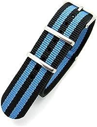 Negro y azul rayas Militar de Infantería Mod genéricos de tela de Nylon de la OTAN G104anillos correa para reloj banda hebilla de cromo, negro y azul, 18mm Fitting