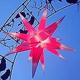 Außenstern 65 cm beleuchteter Stern Weihnachtsstern Faltstern (ROT MIT WEISSEN SPITZEN)