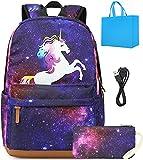 Meisohua Schultasche für Mädchen,Wasserdicht Schulrucksack Set mit Mäppchen Sternenhimmel & Einhorn USB-Ladeanschluss Reiserucksack mit Mäppchen 15,6 inch (Lila)