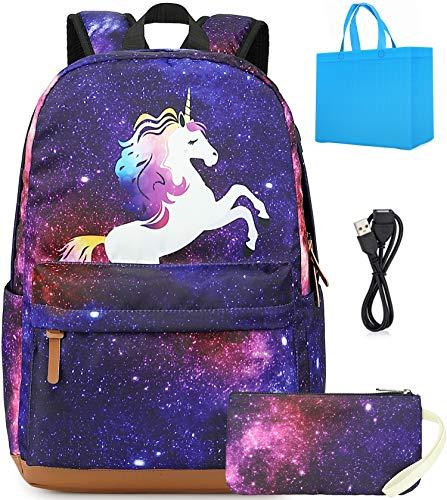 Mochila Escolar para Niños - Impermeable Mochila Escolar Mochilas de Unicornio Mochila de Viaje con lápiz Bolsa y Puerto de Carga USB para Escuela, Libros, Viajes, Camping (Morado) (Morado)
