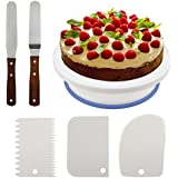 Philonext 10.8 '' Cake Decorating Turntable, Rotating Cake Stand Décorant les fournitures de plateau tournant avec 3Pcs Décorant Peigner / Glaçage Smoother + 2 Pcs Glacis Spatules avec Sided & Angled