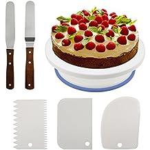 Philonext 10.8 '' Plato Giratorio para Tartas, 3Pcs Peines de repostería para decorar + 2 Pcs Espátulas de repostería para frosting
