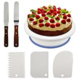 Philonext 10.8'' Cake Decorating Turntable, Rotating Cake Stand Decorating Turntable Supplies with 3Pcs Decorating Comb/Icing Smoother + 2 Pcs Icing Spatulas with Sided & Angled
