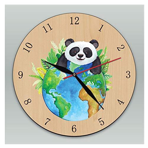 LUYION Große Runde Stumm Hölzern Wanduhr 30cm Wolf Bär Panda Wanduhr Mehrfarbiger Netter moderner Stil für Hauptesszimmer-Küchen-Büro,1#