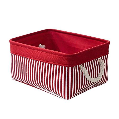 tcafmac Kleine Deko-Stoff Aufbewahrungskorb Bin Organizer Canvas Spielzeug Aufbewahrung Baby Wäschekorb, Textil, Rot / Patchwork, M