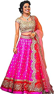 0685379b4651 Globalia Creation Women s Heavy Work Pink Bengalori Semi-Stitched Lehenga  Choli (Lehenga Choli Multicolor Free.