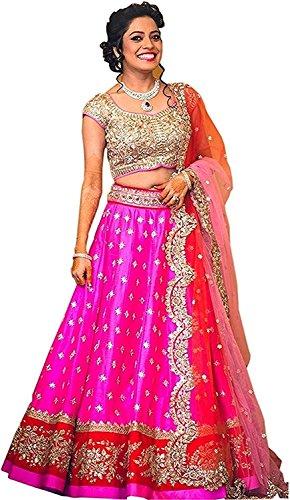 Aarvicouture Woman\'s Net Silk Semi-stiched Lehenga Choli (1150_Free Size_Pink)