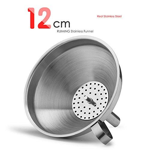 OUNONA 12cm Trichter mit Sieb Edelstahl für die Übertragung von flüssigen Flüssigkeiten Trockene Zutaten Pulver - 4