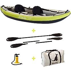 Kangui Canoë Kayak Gonflable Maui 1 à 2 Places + pagaie + Sac Transport + Pompe Double Action+ kit de réparation