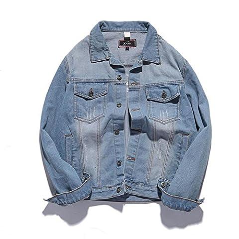 DUUMY printemps Slim Patch jeune denim brodé veste en jean vintage hommes , xl , light blue