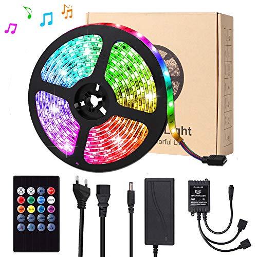 LED Streifen, Targherle 5M 300 LED Bänder Sync mit Musik, LED Lichtband RGB SMD 5050 IP65 Wasserdicht, LED Strips mit 20 Tasten IR Fernbedienung für Decke Bar Theke Schrank Beleuchtung Usw -