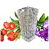 Pure Source India Glass Flower Vase Pot for Living Room Home Décor and Gifts, Size - 3.5 x 8 Inch, Very Much Heavy