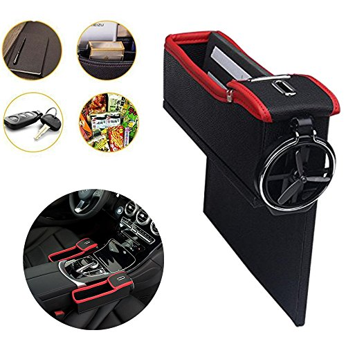 Console Side Pocket - Car Slash Pockets PU Leather Catcher Car Seat Organiser with Coin & Cup Holder in Luxury Design, Car Organizer Driver's Side (Right) (Cup Holder Car Organizer)