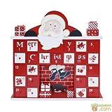 Adventskalender aus Holz zum Befüllen, 31x6x31 cm großer Kalender für Kinder & Erwachsene, Kamin-Optik in rot-weiß | Weihnachtskalender