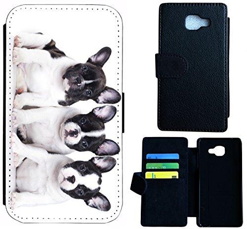 Flip Cover Schutz Hülle Handy Tasche Etui Case für (Apple iPhone 4 / 4s, 1470 Einhorn Pferd Fantasy Blau Weiß) 1475 Französische Bulldogge Hund Welpen