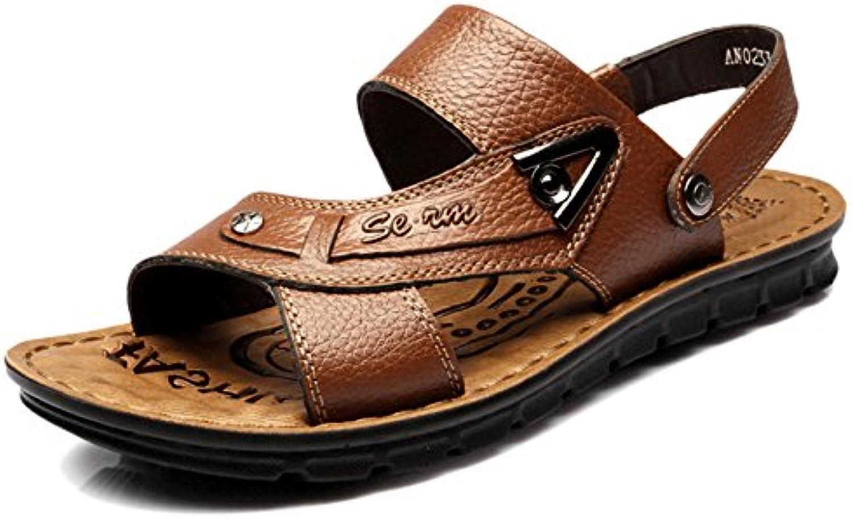 Yra Sommer Herren Große Größe Echtes Leder Sandalen Hausschuhe Rutschfeste Casual Flip Flops Thong Reisen Strand