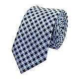 Fabio Farini schmale 6 cm Krawatte, kariert in blau-schwarz-grau, Hochzeit, Abschlussball, Anzug