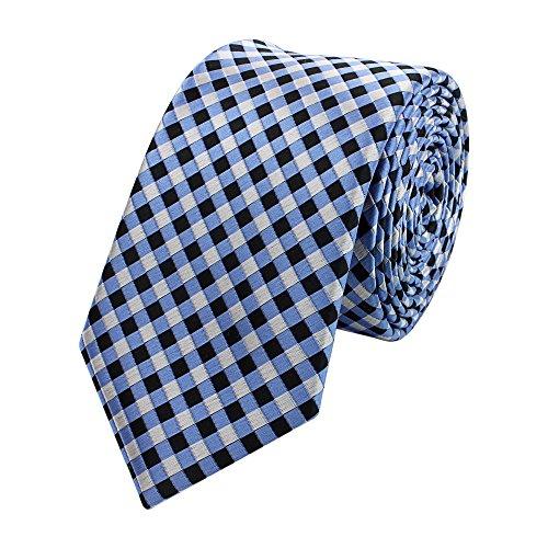 Krawatte schmal von Fabio Farini kariert in blau schwarz grau