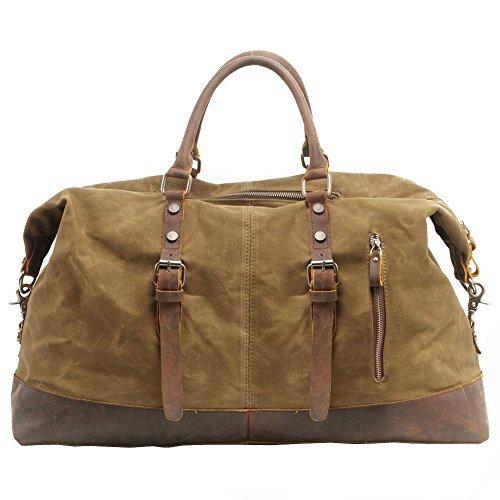 Canvas Weekender, P.KU.VDSL Leder Reisegepäck Reisetasche Duffle Bag Handgepäck Tasche Leather Wasserdicht für Herren Damen, A - Khaki,