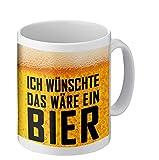 Foto Premio Tasse mit lustigem Spruch | Ich wünschte das wäre EIN Bier | Kaffeetasse beidseitig Bedruckt Freunde, Familie oder Lieblingskollegen