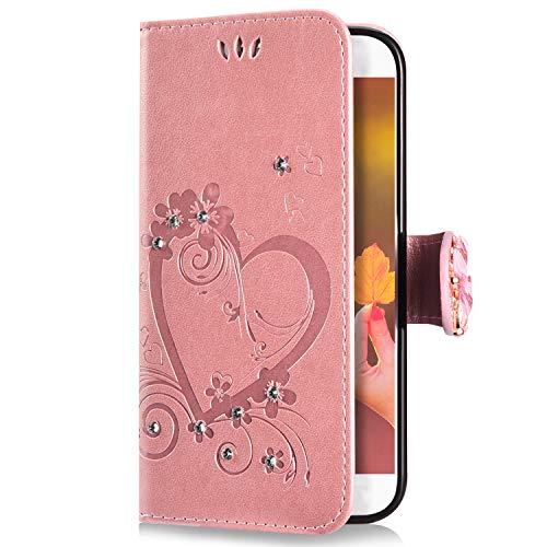 Uposao Kompatibel mit Samsung Galaxy A3 2017 Handyhülle Schmetterling Liebe Blumen Muster Glitzer Diamant Bling Schutzhülle Flip Case Cover Brieftasche Klapphülle Leder Hülle,Rose Gold