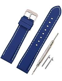 Vinband Correa Silicona Reloj Correa Suave Reemplazo de Banda de Acero Inoxidable Hebilla - 18, 20, 22, 24 mm Correas de Cuero para Reloj (20mm, azul profundo)