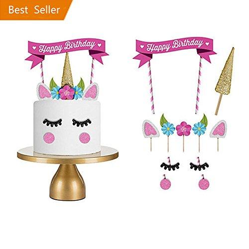tion, Kindergeburtstag Deko Einhorn Kuchen Deko DIY Geburtstag Dekoration für Mädchen und Jungen Jeden Alters (Geburtstag-mädchen-mädchen Zubehör)
