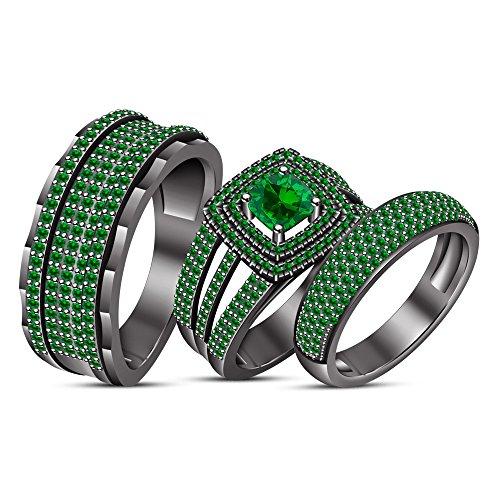 Lilu Jewels Schwarz rhodiniert Kunstsaphir grün Bride & Groom Hochzeit Ring Verlobungsring Trio Set (Ihre Seine Und Hochzeits-set Trio)