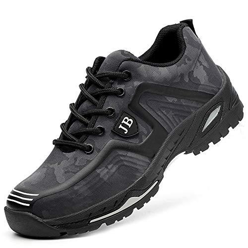 Zapatos de Seguridad Hombre Punta de Acero Protección Zapatillas de Trabajo Ligeras Respirable Zapatos...