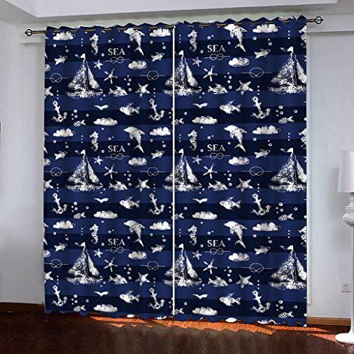 Lgxingliyidian tende blackout creativo a vela ea stella marina delfino cavalluccio marino 3d tessuto di seta nero termico isolato occhiello tende 250 (h) x150cm (l) x2