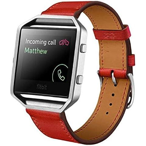 Fitbit Blaze Reloj inteligente Banda, Sannysis Cuero de Correa Muñeca Banda Reemplazo con Broche (Rojo)