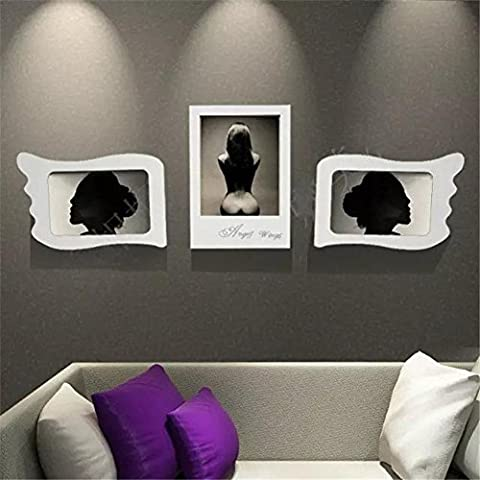 ZZZSYZXL Salon Chambre Restaurant Chambre Photo Frame Set 3 Piece Set Angel Wings Photo Wall - 16 pouces