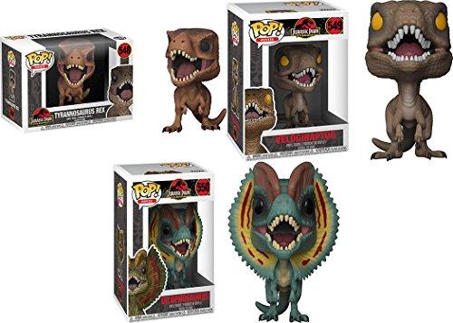 Funko POP! Jurassic Park: Tyrannosaurus Rex + Velociraptor + Dilophosaurus - NEW