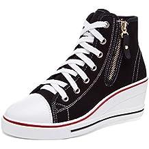 wealsex Sneaker Donna Zeppa Alte Donna Scarpe Lato Zip 8 cm Allacciate Donna Tela Scarpe da Moda Sneaker (Rosa,43)