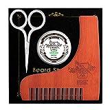 BFWood Kit Barba - Pettine Modellante in Legno + Forbici di Precisione per Baffi + Balsamo di barba 30g
