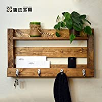 ZEZE-Iron Art Rack Wall solid wood property bulkhead living room wall bedroom walls rack mount ,TOY88-399 key