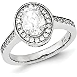 Sterling Silver and CZ Oval Ring - Ring Size Options Range: L to P