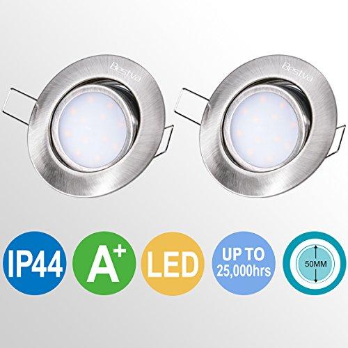 Spots LED Encastrables BESTVA 2 x 6W 230V IP44 Projecteurs de Plafond Orientable Acrylic 2 x 500lm pour Salles de Bains, Cuisines, Salon (2 pièces) [Classe énergétique A+]