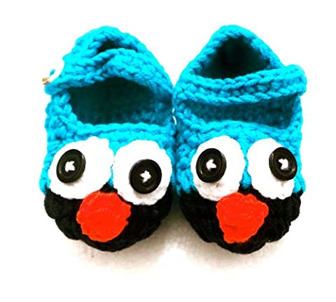 BB.61 Hand-Crocheted Baby Shoes / Slippers 3 to 9 months Size 16/17 Blue Owl