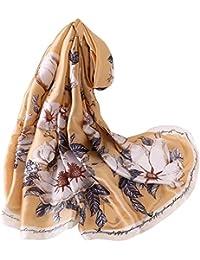 LD Foulard Femme Soie Polyester Écharpe Tissu Satiné Doux Art à la Mode  Etole Châle f5c9f1d1286