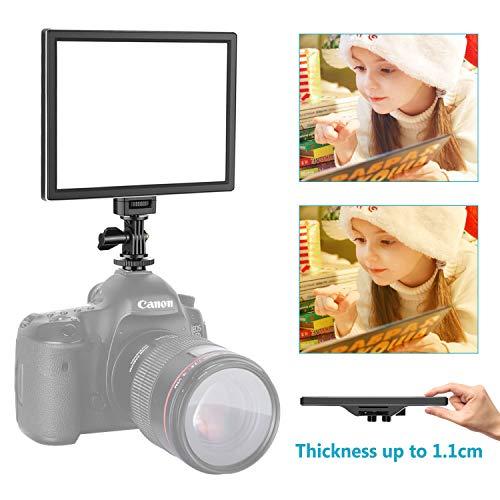 Neewer Kamera / Camcorder Videoleuchte SMD LED Licht Feld für weichere Beleuchtung, 3200K bis 5600K Farbtemperatur und dimmbare Licht, Ultra dünn, T100 (Batterie nicht im Lieferumfang enthalten) (Led Videoleuchte Für Camcorder)