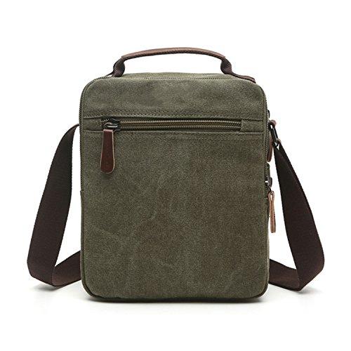 Outreo Borse a Spalla Borsetta Tracolla Uomo Vintage Messenger Bag Sport Borsa Scuola Borsello Tela Sacchetto per Tablet Laptop Portadocumenti Tasca Verde