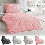 Bettwäsche Microfaser Bettbezug 135x200 Sterne Kissenbezug Grau Taupe Silber, Farbe:Rosa