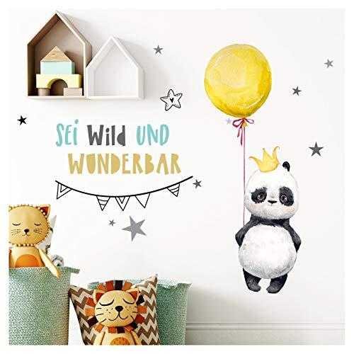 Little Deco Aufkleber Panda mit Spruch Sei wild I S - 68 x 42 cm (BxH) I Luftballon Krone Wandbilder Wandtattoo Kinderzimmer Tiere Deko Babyzimmer Kinder Sticker DL201 - Krone-schlafzimmer-möbel