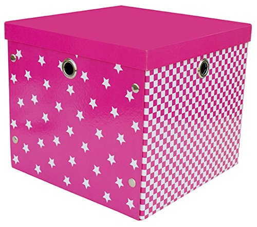 Caja con tapa rosa Estable cartón/metálicos para estantería habitación de los Niños