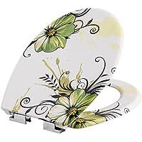 TecTake Toilettendeckel mit Absenkautomatik WC Brille Klobrille - diverse Modelle (Blumen | Nr. 402259)